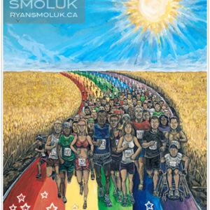 Painting of many different people from all walks of life walking together on a rainbow path through fields of beige plants with a blue sky and a bright sun