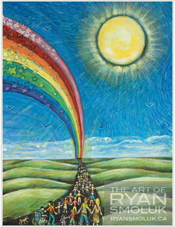 Painting of many different people from all walks of life walking together on a path through green fields with a blue sky, a rainbow and a bright sun