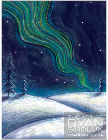 Painting of green and blue northern lights over snow with a few trees in the distance