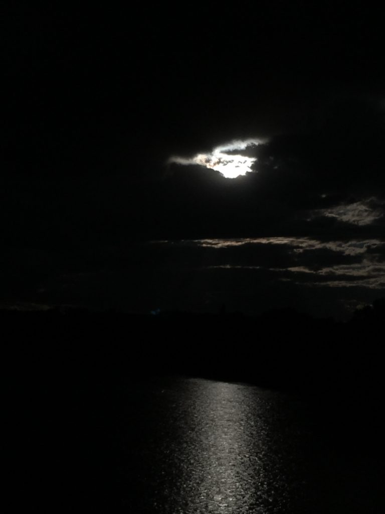 Photograph of water and the sky at night. The image is very dark, the water and sky are black except for where the moon shines though a cloud. The moon through the clouds resembles an angel flying. The light from the moon is reflected on the water and on a few clouds in the background on the right side one the photo.