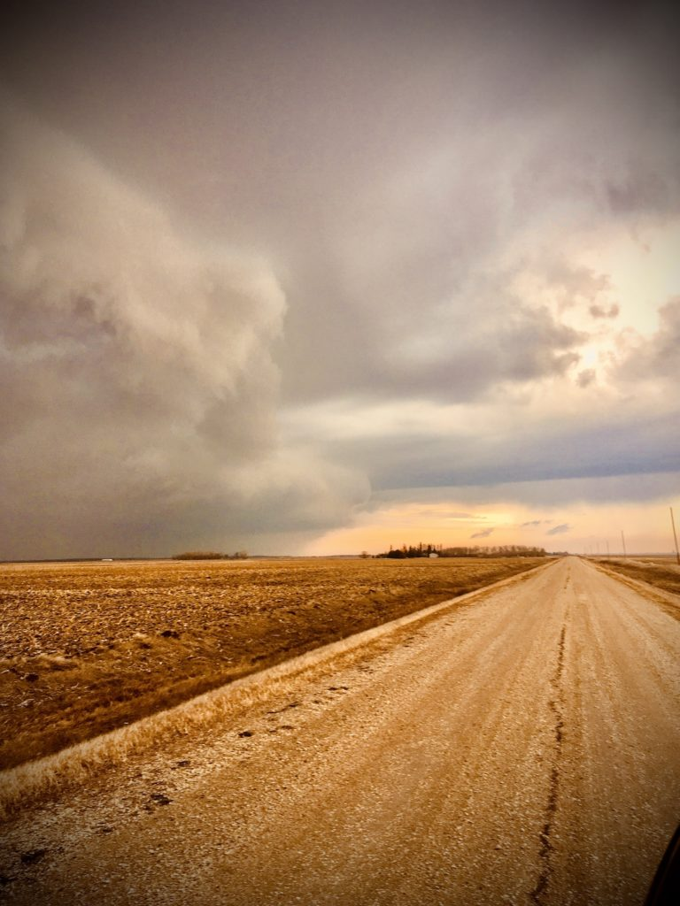 Photograph of a dirt road next to a wheat filed that has been but down. The sky is cloudy and lookalike a storm is on its way. The image is sepia coloured, lost of yellows and oranges.