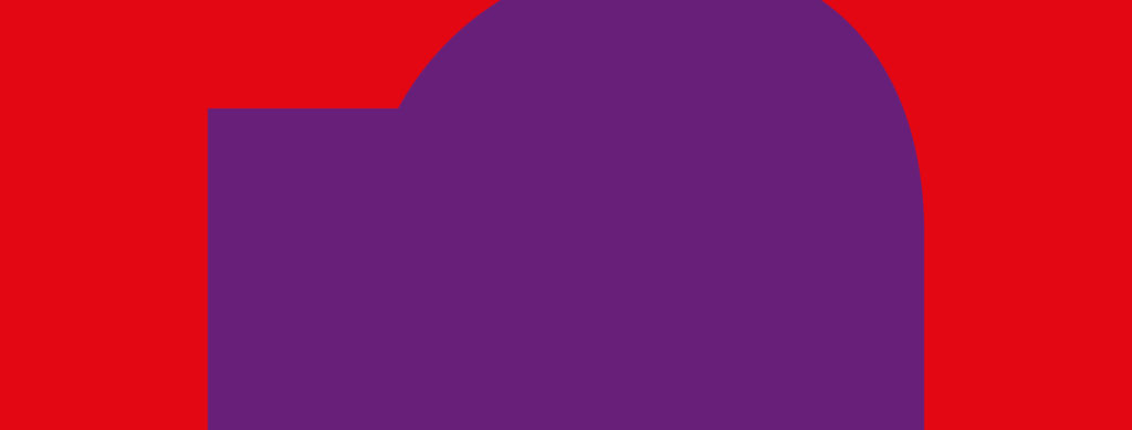 Daphne Logo. Purple circle and rectangle shape against a red background