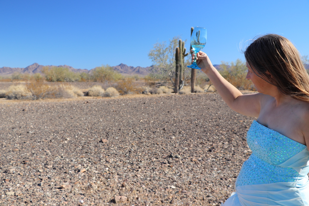 Photograph of Marie LeBlanc in profile looking at her wine glass with water in it. The terrain behind Marie is rocky with scrub bushes and cacti. In the distance are low mountains and a clear blue sky. Marie is a thin white woman with straight long brown hair and is wearing a blue strapless dress with sequence on the bodice.