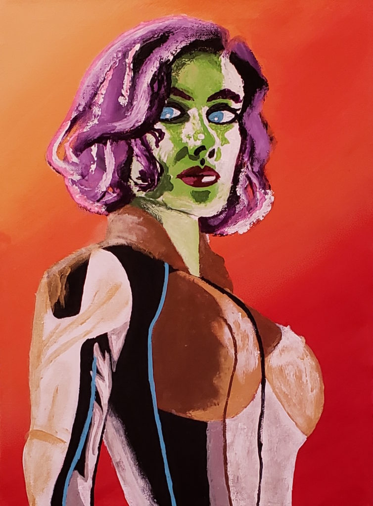 Image Description: Acrylic painting of Black Widow from about the belly button up. In this abstract realism depiction, Black Widow has purple, pink and white hair, green skin, blue eyes, and red lips. She is wearing a body-hugging suit that is bronze, white, black, silver, and gold and also has blue pin stripes. The background of the painting goes from light orange in the upper left side to dark red in the bottom right corner.