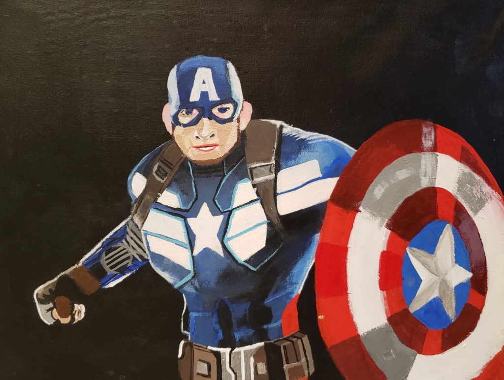 """Image Description: Acrylic painting of Captain America. Captain America is a white male super hero. In this depiction he is seen from the waist up. He is wearing a tight body suit that is blue with white stripes and a star. Captain America is wearing a tight head cap with eyeholes that is blue and white with a white """"A"""" on the forehead. He is also wearing gloves, a utility belt, and shoulder straps and is holding his shield that is alternating rings of red and white with a blue circle with a white star in the middle. The background of the painting is black."""
