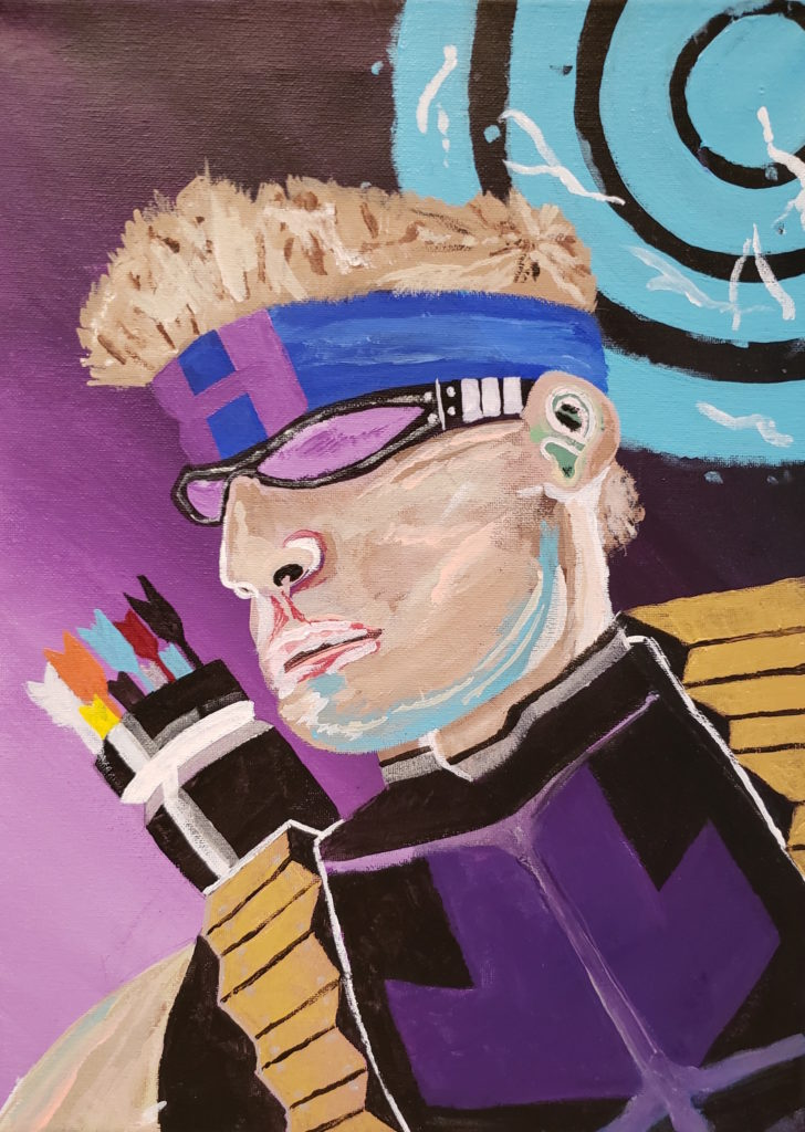 """Image Description: Acrylic painting of Hawkeye. Hawkeye is a male superhero with white skin and blonde hair. This depiction is a headshot of Hawkeye. He is wearing black rimmed glasses tinted purple, a blue headband with a purple """"H"""", and his shirt is black with a purple arrow pointing down on his shirt. In this depiction, Hawkeye also carries a quiver using a gold-colored harness with multi-coloured arrows. The background goes from light purple to dark purple and there is a light blue bull's-eye in the upper right corner of the painting. This painting is expressed using the abstract realism expression."""