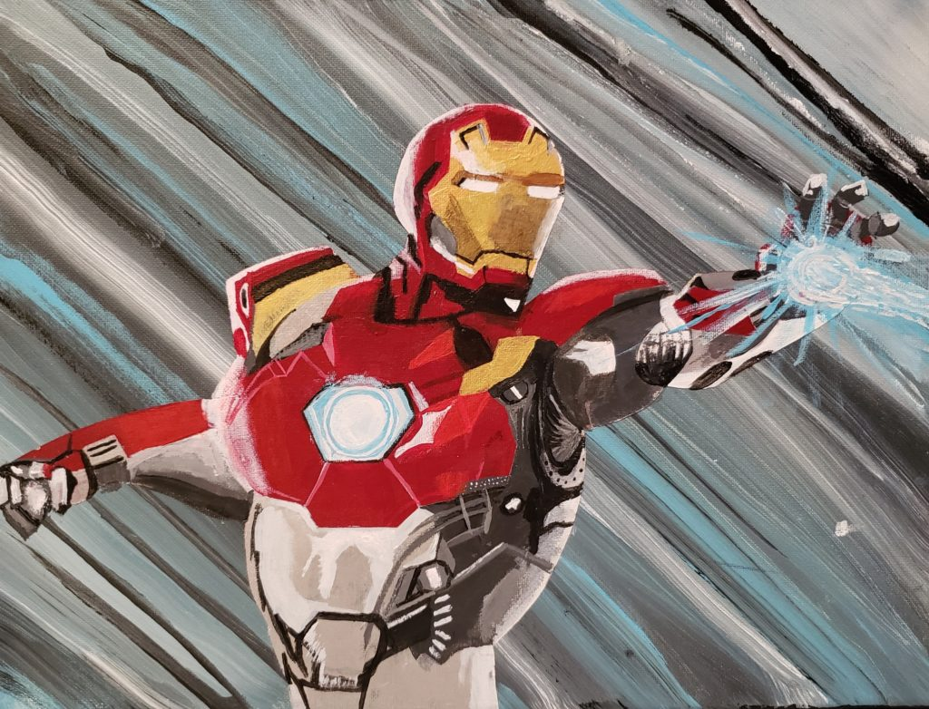 Image Description: Acrylic painting of Iron Man. Iron Man is a male super hero who wears a full-bodied metal mechanical suit that allows him to fly and shoot energy beams. The suit is gold, red, silver and grey. In this depiction Iron Man is seen from the waist up facing to his left. He has his left hand forward and is shooting an energy beam. The background is streaks of grey, white, black and blue.