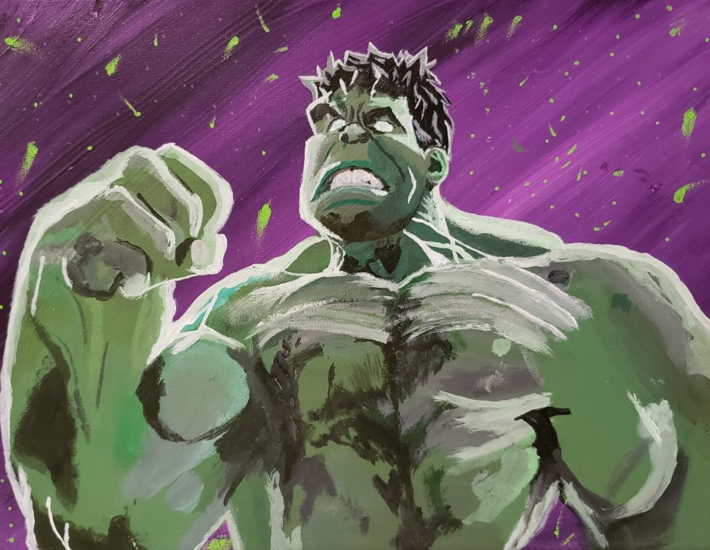 Image Description: Acrylic painting of the Incredible Hulk. In this depiction the view of the Hulk is from around the bottom of his rib cage up. The Hulk is heavily muscled and his right hand is clenched in a fist and his face looks angry with his mouth open in a grimace, baring his teeth, and his eyebrows furrowed together. The Hulk is male and has green skin, black hair and white eyes. The background of the image is shades of purple with flecks of green.