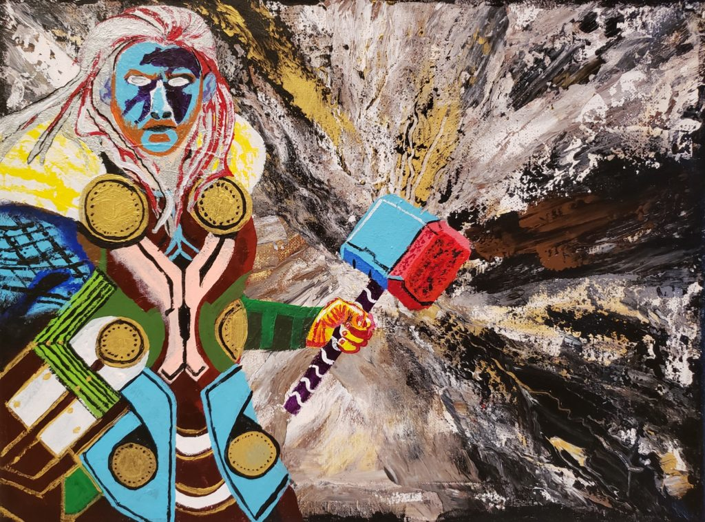 Image Description: Acrylic painting of Thor, the Norse god of thunder. In this depiction, Thor is on the left -hand side of the image seen from the waist up. For this painting, the artist decided to use the expression known as abstract realism, which is a combination of realism and abstract painting. In an effort to do so, he depicted Thor's face using light blue with multi-coloured armor and a yellow and white cape. Here, Thor's famous hammer is coloured blue and red and his hair is long and coloured silver and red. He also has a beard and mustache. The background is white, black, silver, gold and bronze and looks like all the colours are radiating from the hammer to represent the power he has to conjure up lightning and thunder.