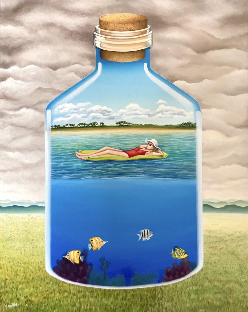 Image description: Surreal oil painting of a glass bottle with a cork, floating above a green field with low, green mountains in the distance and many grey/brown clouds fill the sky. In the bottle the viewer can see a woman on a green floating mat with stripped fish and coral in the water below her. The woman on the floating mat is white and has long brown hair. She is wearing a red one-piece bathing suit, sunglasses and a white sun hat. She is laying down on her back on the floating mat with her hands behind her head. The shore is visible in the bottle, a sandy beach with lush green grasses and palm trees behind it. The sky in the bottle is blue with white clouds.