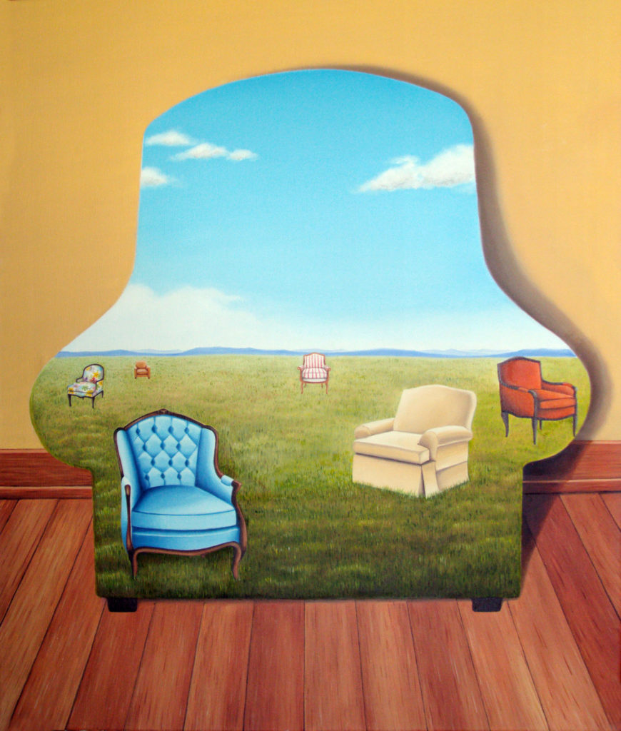 Image description: Surreal painting of an outline of a plush chair is seen in a room with a reddish wooden floor and ocher walls. Inside the outline of the chair is a green field with blue skies. There are six different plush and comfortable chairs that can be seen in the field. The chairs are blue with wood, floral with wood, orange with wood, red stripes on white with wood, a light brown plush chair and a cream-coloured plush chair.