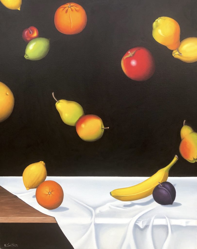 Image description: Surreal painting of fruit. On a wooden table with a white cloth many fruit are floating in the air against a black background. There is one plum, one banana, one lime, one grapefruit, one cherry, two oranges, two apples, three lemons, and three pears.