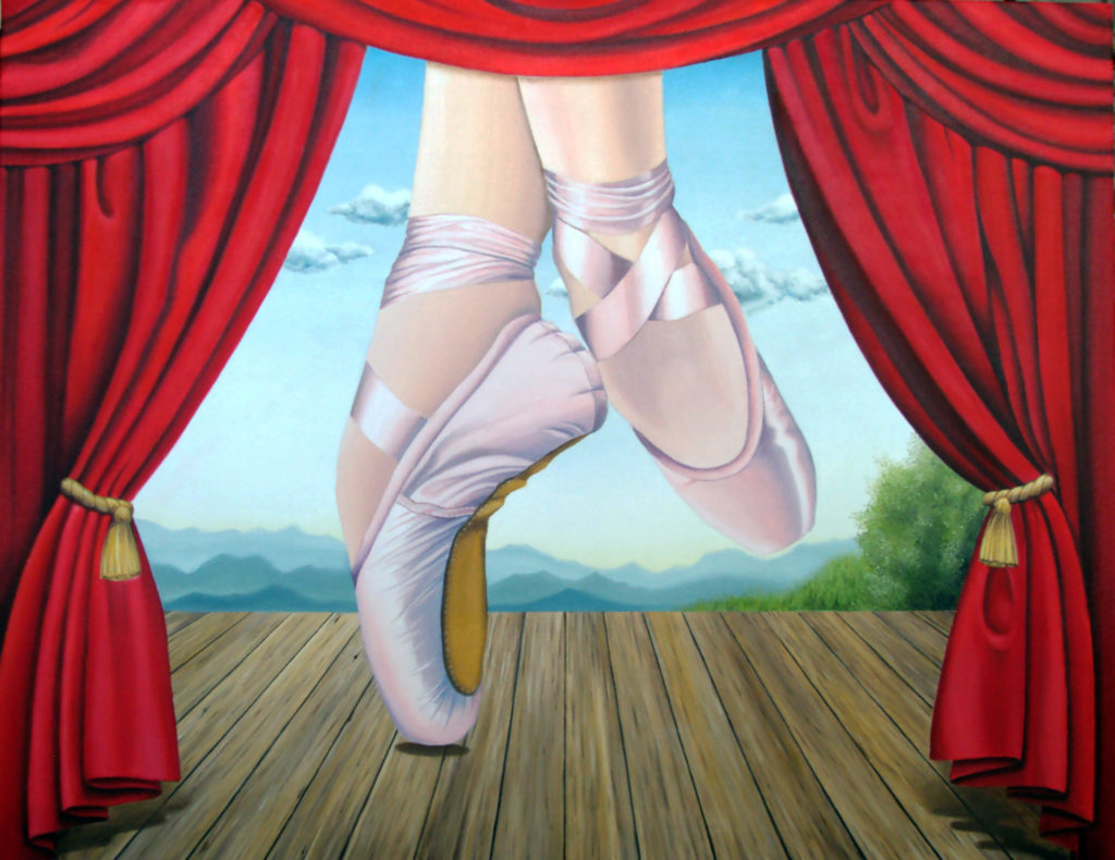 Image description: Surreal painting of a stage. The stage red, heavy, curtains are pulled to the side and tied with gold tassels. The stage is wooden and there the scenery background shows a blue sky with a few clouds, a low mountain range and a tree in the bottom right corner. What makes the painting surreal, is two feet wearing ballet slippers are visible on the stage but are so large that we can only see the feet and ankles of the dancer. The feet belong to a white woman and are wearing pink ballet slippers.