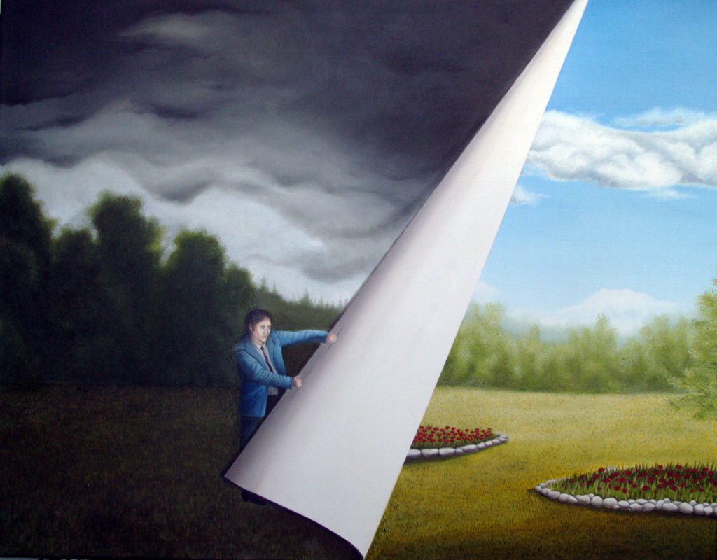 Image description: Oil Painting of a field with a white man in a blue suit. The background of the area where the man is dark with storm clouds and trees can barely be seen in the distance. The man is pulling the image up from the right side to reveal the same field but with blue skies and light white clouds. There are also red flowers planted in a circle surrounded by rocks. There are two circles of flowers that can be seen.