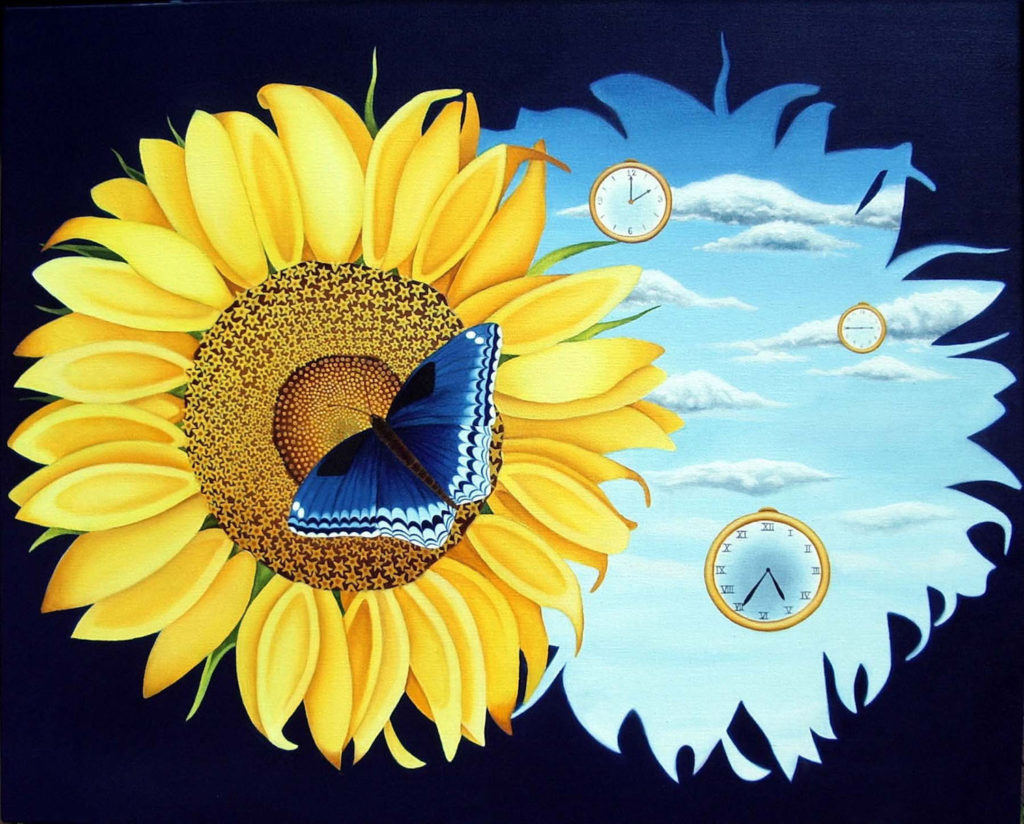 Image description: Oil painting of a sunflower. The yellow sunflower is against a black background but there is an outline of the sunflower on the right side. Inside the outline a blue sky with clouds can be seen. There are also three clocks floating in the sky. The sunflower is to the left of the image and there is a blue, black and white butterfly that is sitting in the middle of the flower.