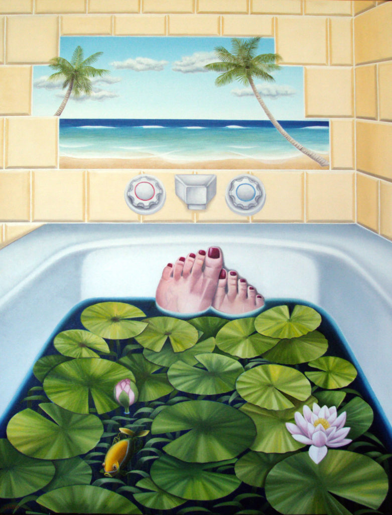Image description: Surreal paining of a person in a bathtub. The image is viewed from the point of view of the person in the tub with their feet sticking out of the water. The toenails are painted red and the water that they float in is dark and full of lily pads with a few water flowers and an orange fish. The wall of the bathroom consists of light-yellow square tiles. Above the water taps, some of the tiles are missing and through the hole a tropical scene can be viewed. At the bottom of the hole is a sandy beach with a light blue sea with white caps. The sky is a light blue with fluffy clouds. There 2 palm trees visible, one coming from the left side of the hole, and one from the right side.
