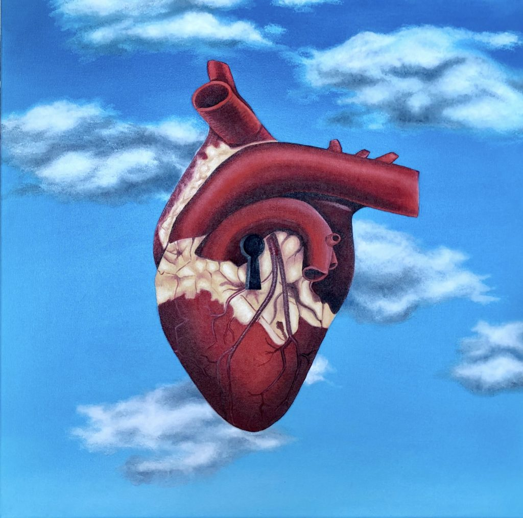 Image description: Surreal painting of an anatomically correct heart floating in the sky. The sky is blue with light fluffy clouds. The heart is red with veins, arteries and areas of fat. In the middle of the heart is a black keyhole.