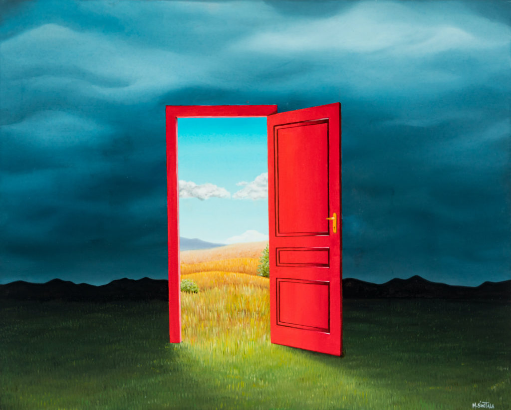Image description: Surreal oil painting of an open red door and its red frame. The door sits in a dark green field with dark mountains in the distance and a dark and cloudy sky. Through the open door, light pours out. There are rolling yellow fields visible through the door as well as light blue skies with a few fluffy white clouds.