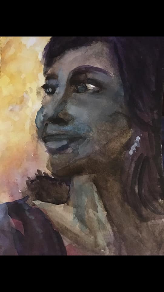 Watercolour self-portrait. Using purple and black and woman's face issues in 3/4 view facing left. She is smiling slightly.