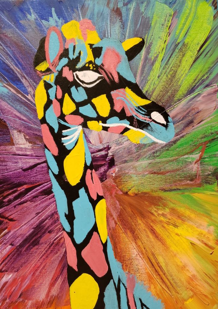 Painting of a giraffe's head and neck. The background is a kaleidoscope rainbow. The giraffe is painting in abstract colours: its spots are blue, pink and yellow against black. The giraffe's eyes, nose and mouth are white.
