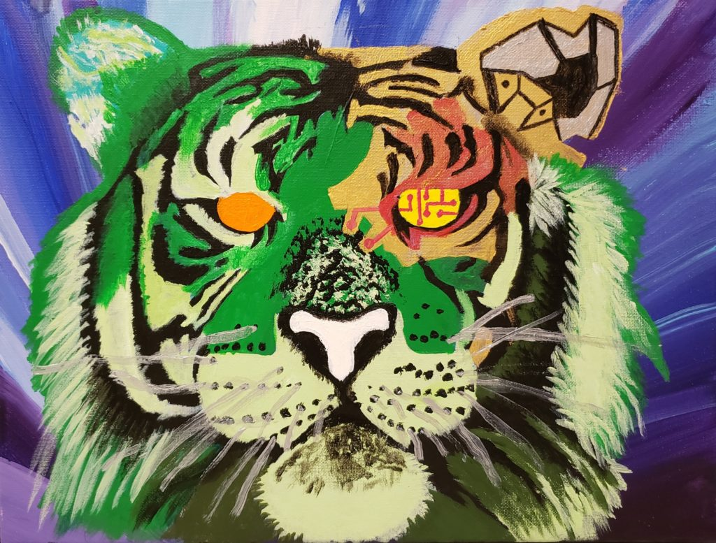 Painting of a tiger's head. The background is streaks of blues, purples and white. The tiger is painted in abstract colours of green and white. Its right eye is missing and instead has connections like on a computer board.