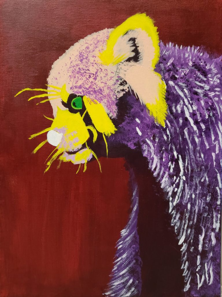 Painting of a lemur's head and arms. The background is dark red. The lemur is painted in abstract colours: its fur is yellow and purple with green eyes.