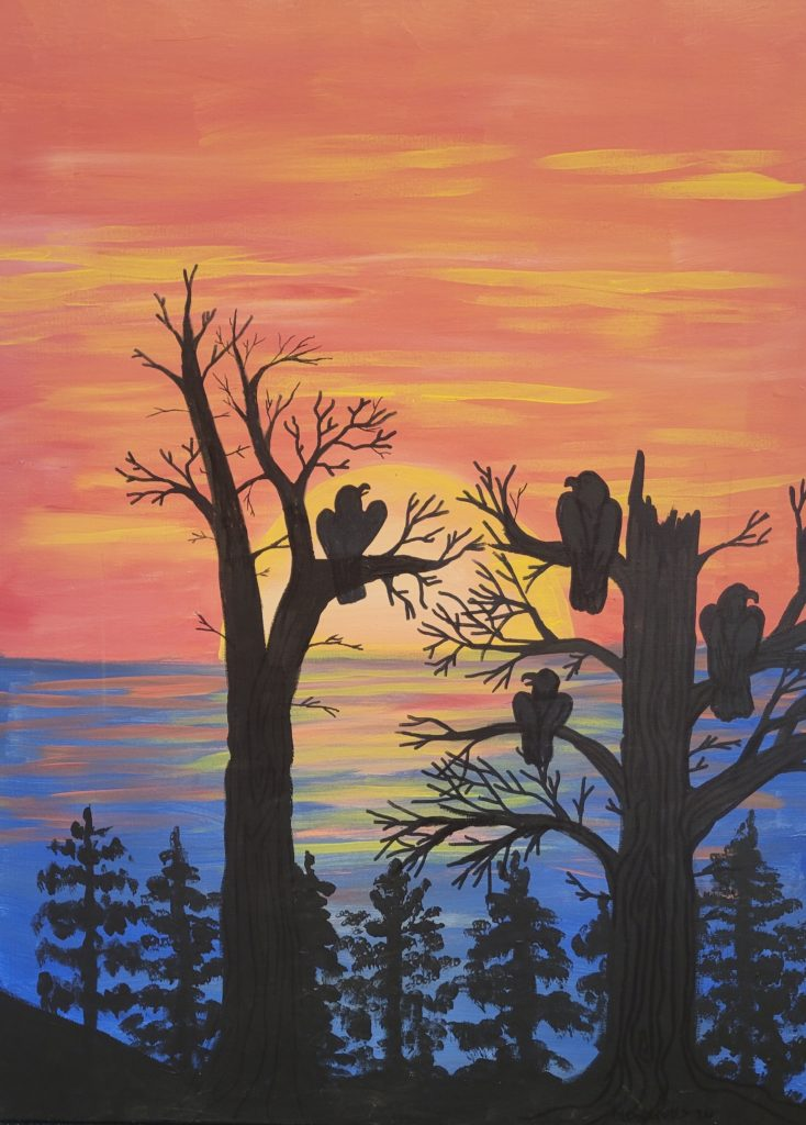 Painting of a lake at sunset. In silhouette are pine trees and two larger trees with broken branches with four eagles sitting on them.