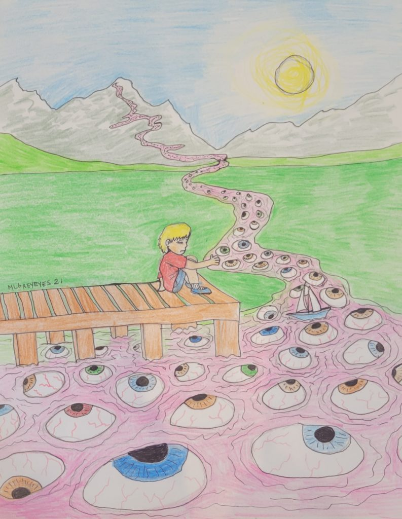 Pencil Drawing of a boy with yellow hair sitting at the end of a wooden dock. There is a pink river that flows up to mountains in the distance. In the river are eyeballs of all different colours and a sailboat the boy has put in the water.