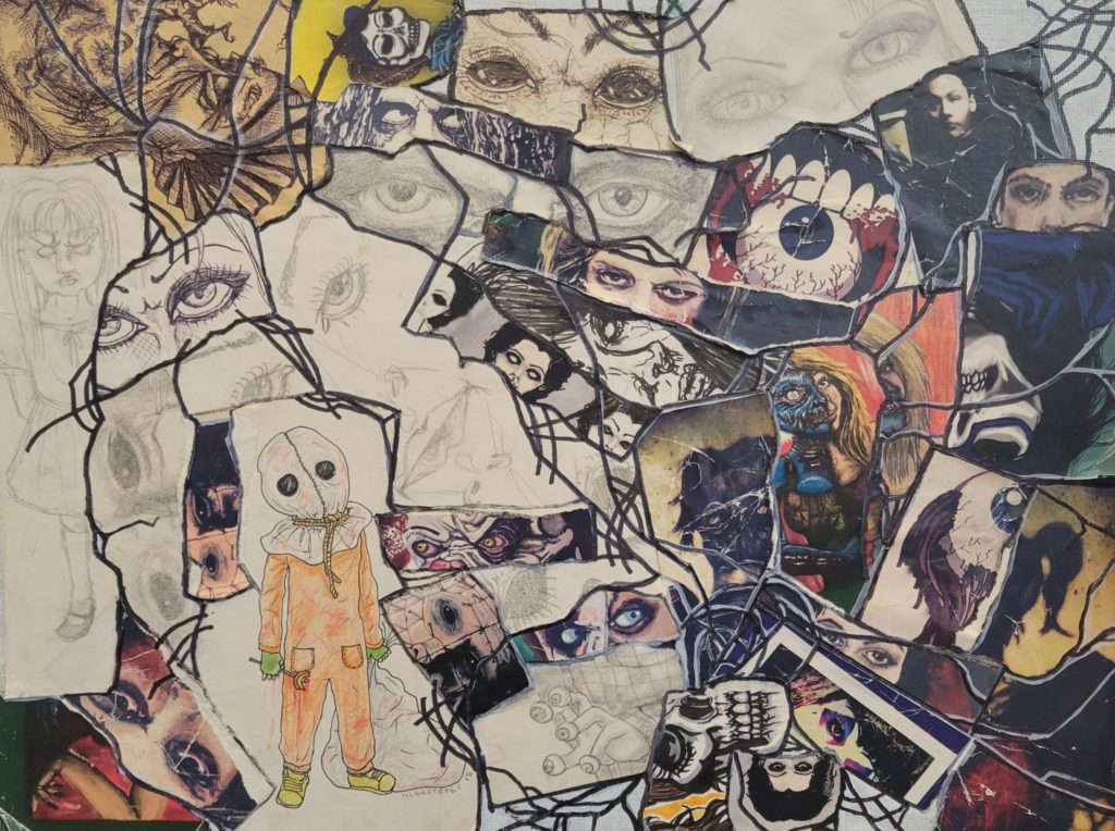 Collage of drawings of eyes, skulls and other faces. The paper is torn and glued together. Along the rips black lines have been drawn.