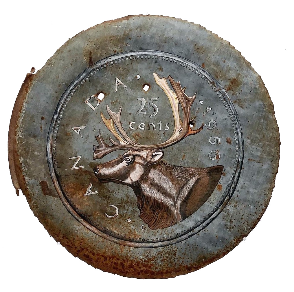 Silver and rusted oil drum lid with a caribou with antlers painted in the middle. There is text printed around the perimeter of the oil drum in white: CANADA 1955. Between the caribou's antlers is the following text in white: 25 cents.