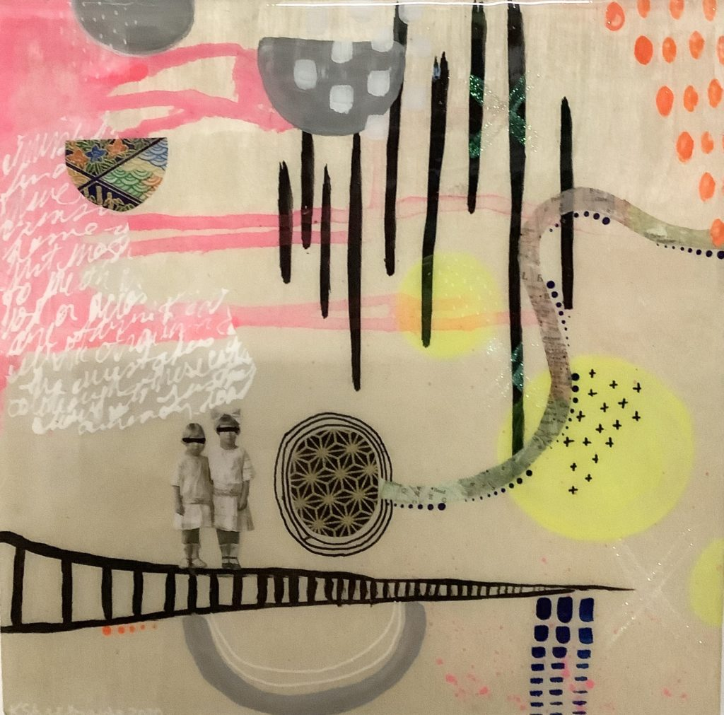 Square painted panel. The background is cream coloured. There are black lines in the upper right corner and a black ladder across the bottom. Standing on the ladder are two young indigenous girls with their eyes blacked out. There are yellow circles, grey and white half circles, a half circle with repeating patterns and an oval with gold geometric shapes against a black background. In the left upper corner is pink paint with white words overtop.