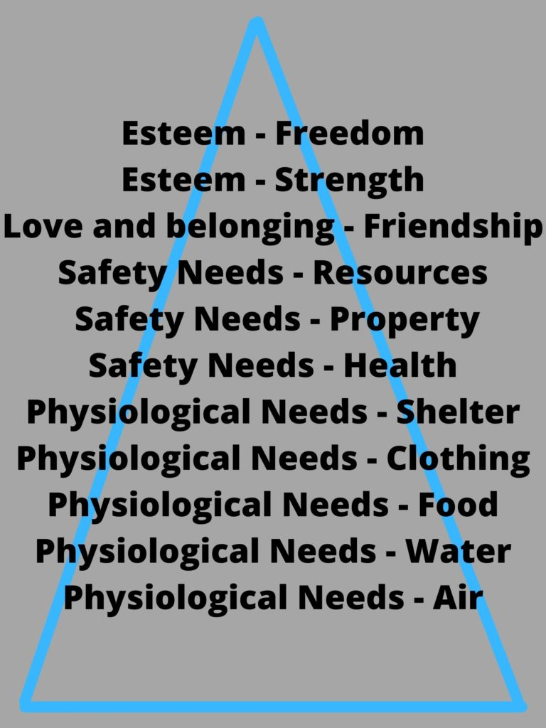 Grey background with the following text in black: Esteem – Freedom, Esteem – Strength, Love and belonging – Friendship, Safety Needs – Resources, Safety Needs – Property, Safety Needs – Health, Physiological Needs – Shelter, Physiological Needs – Clothing, Physiological Needs – Food, Physiological Needs – Water, Physiological Needs – Air. Behind the words of is a blue triangle