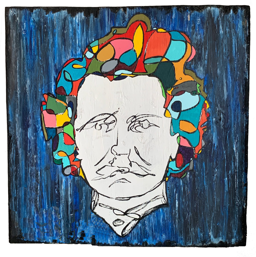 Abstract painting of Louis Riel's head. The background is streaks of blue and black. Riel's hair is coloured all different colours with black lines creating different shapes. Riel's face is while and his features are defined by abstract black lines.