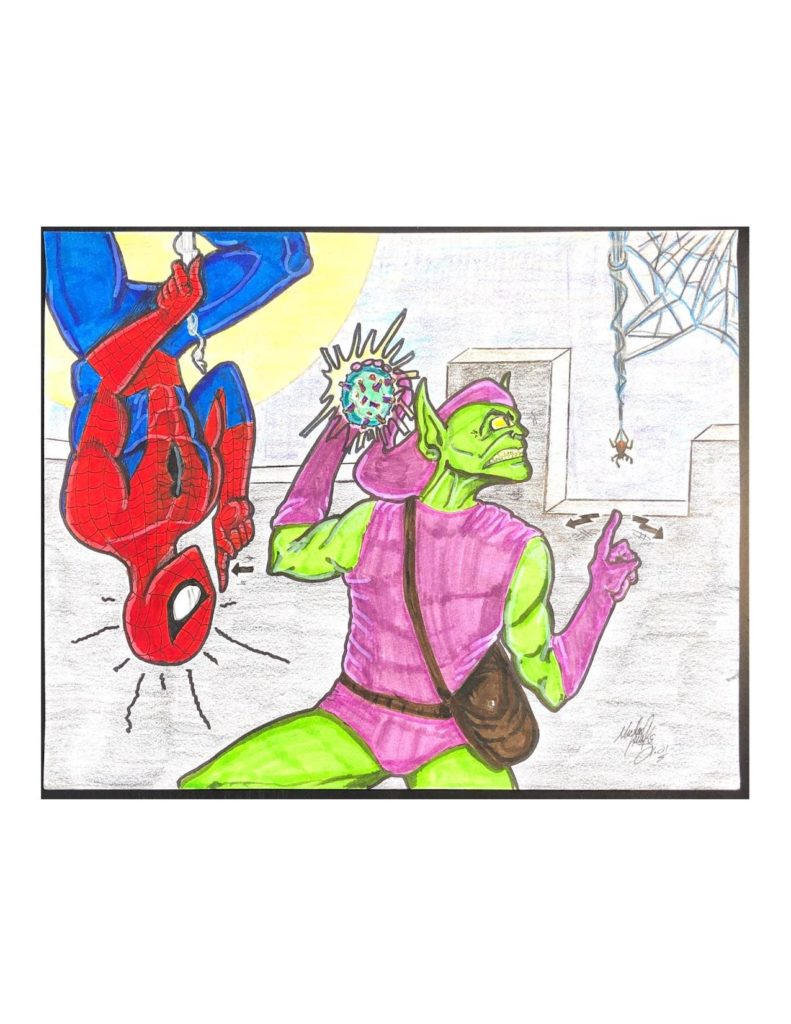 """Drawing of Spiderman and the Green Goblin. Spiderman is hanging upside down on the left side singing """"shhh"""" in ASL with one hand. To the right of him is the Green Goblin holding the covid-19 virus in one hand and signing """"where?!"""" in ASL in the other. The Green Goblin is looking to his right at a spider in its web. They are standing on the top of a building with the moon behind them."""