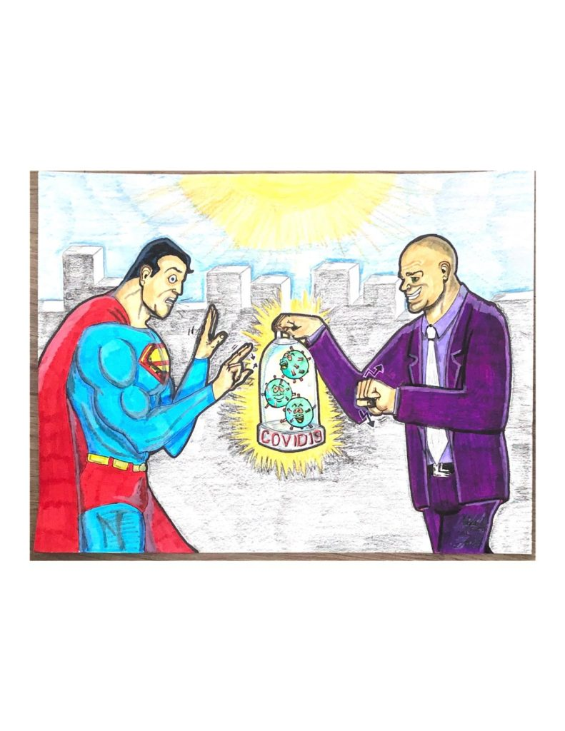 """Drawing of Superman and Lex Luther on the roof of a building with the sun behind them. Superman is signing """"no"""" in ASL. Lex Luther is signing """"yes"""" in ASL and is holding a container with the COVID-19 virus in it and labeled """"COVID-19""""."""