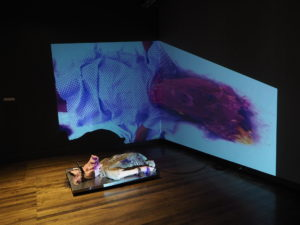 Photograph of an installation artwork. A silicon sculpture of a woman's torse wearing a hospital gown with the head of a pig. The arms are restrained and is wearing an electroshock head band. Projected into the corner of two black walls is an image of Susan Aydan Abbott wearing the pig mask and a hospital gown