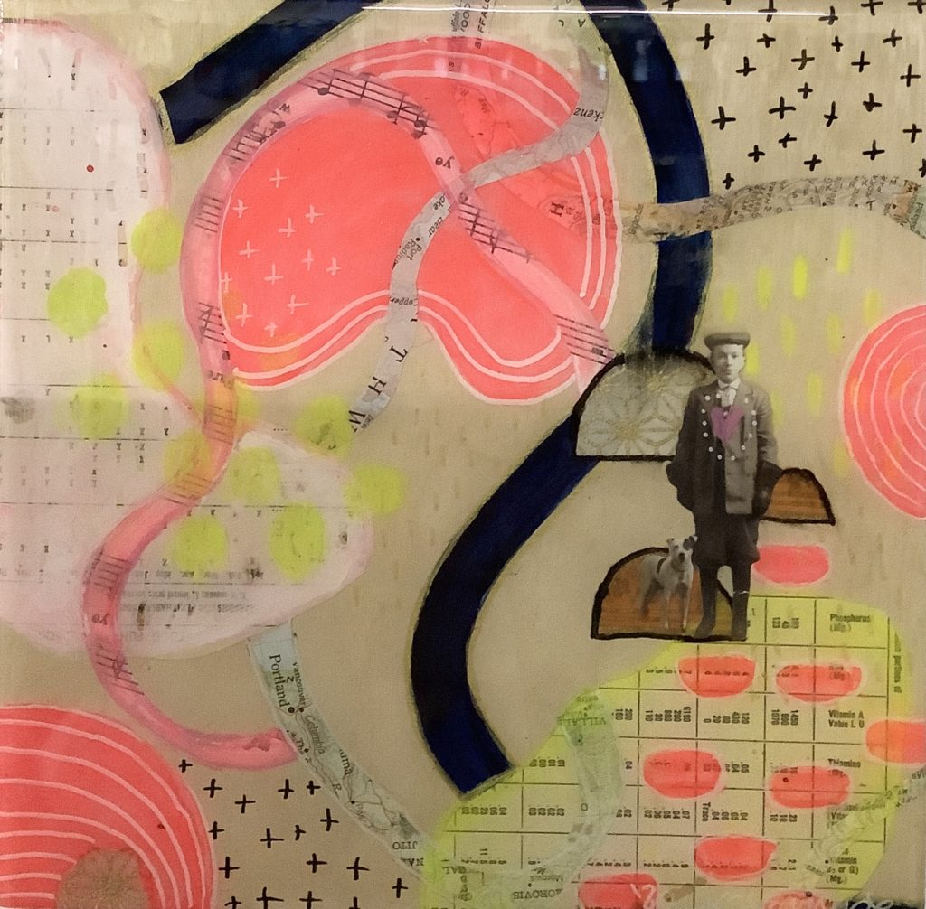 Square panel with a cream background. There are pieces of music sheets, calendars and a map. There is also an image of a young indigenous man standing with a dog. There are black and white crosses drawn on, pink circles with white lines. Lines of black, pink and white flow over the image.