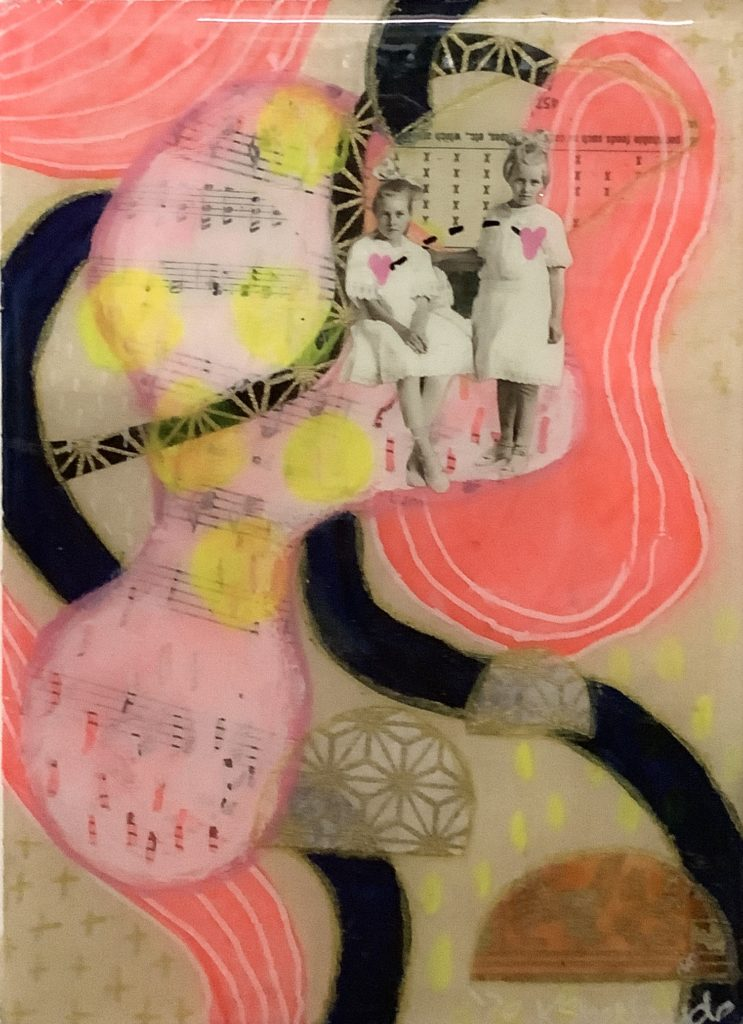 Square panel with a cream background. There are pieces of music sheets and a calendar. There is also an image of two young girls with pink heats that are connected by black dashes. There are gold crosses drawn on, pink circles with white lines and half circle with geometric shapes. Lines of black and pink flow over the image.
