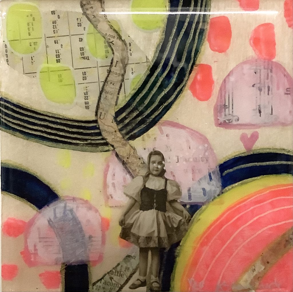 Square panel with a cream background. There are pieces of music sheets and a calendar. There is also an image of a young girl in a dress. There are pink half circles and a large circle in the lower right corner that is pink and white with yellow and clue circles around it. There are also pink and yellow dots painted on. Lines of black with gold flow over the image.