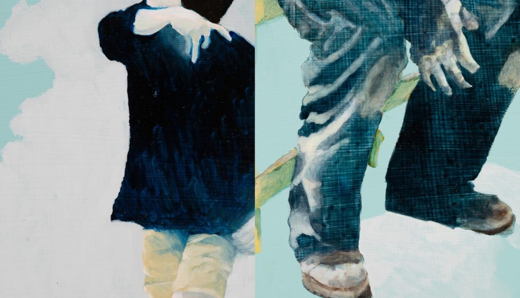 Lenticular print that combines two paintings so that one or the other is visible depending on the position of the viewer. One image shows a person from their neck to their knees. They are wearing a black hoodie and khaki shorts. They appear to be walking and making a sign with their hand. The second image is the lower half of a person who appears to be sitting down on a yellow fence. They are wearing blue jeans and brown work boots and holding a well-used workglove.