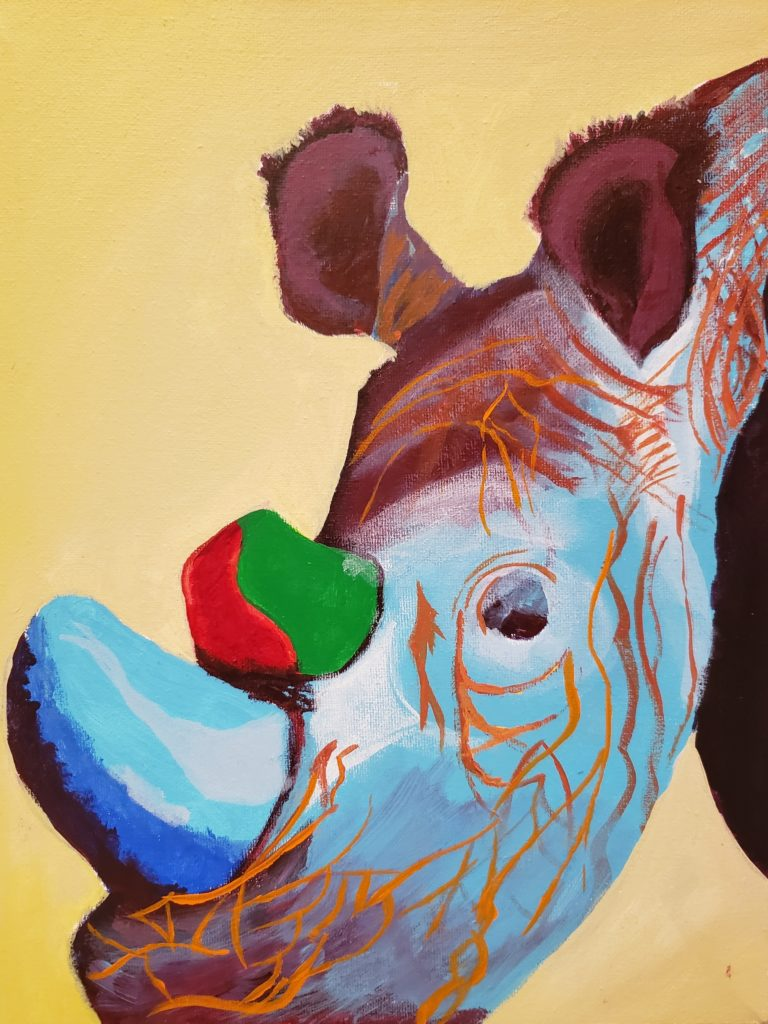Painting of a Rhino's head. The background is light yellow. Abstract colours are used: the front horn is blue and the second horn is red and green. The Rhino's skin is blue and red with oranges lines.