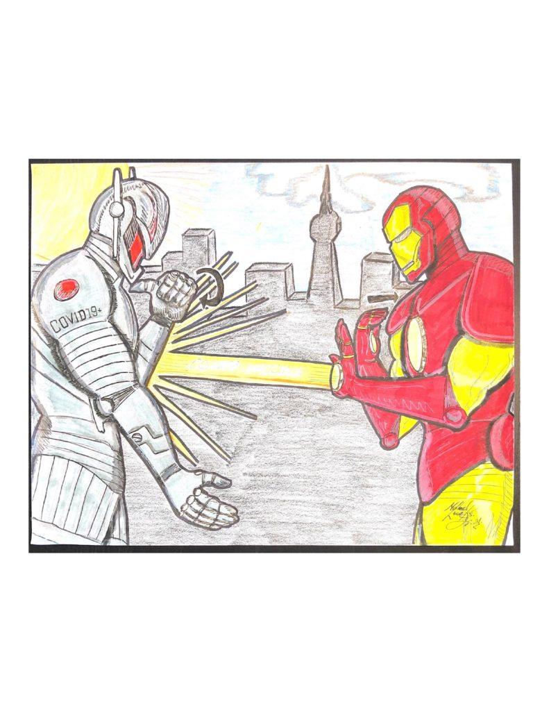 """Drawing of Ultron and Ironman. They are standing on the roof of a building with a blue sky, clouds and the sun. Ultron is on the left and is signing """"hurt"""" in ASL while blocking a ray from Ironman that says COVID-19 VACCINE. Ironman in on the right and is """"have"""" signing in ASL."""