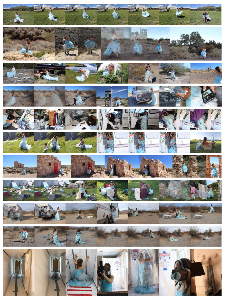 Collage of a multitude of photographs of Marie LeBlanc as she takes care of her basic needs in relation to Maslow's Hierarchy of Needs, while living out of her van. Marie is a white woman with long brown hair and is wearing a fancy blue gown and workboots. There is a blue ribbon in the shape of a triangle over the images.