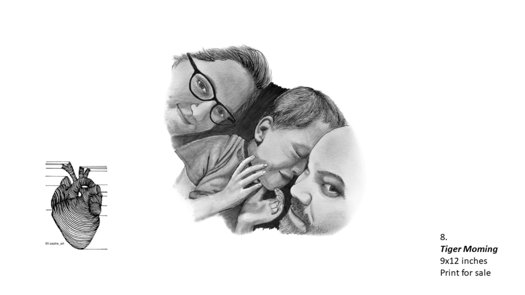 Pencil drawing of a mother, child and father. Only their faces are seen. The mother is on the left of the child and she is smiling and wearing glasses. The child in the middle is a boy with short hair, a t-shit and is facing his father with his eyes closed. The father is on the right of the child and has a beard and mustache. In the bottom left is a watermark which is a lined drawing of an atomically correct heart with the following text below: @l.zastre_art