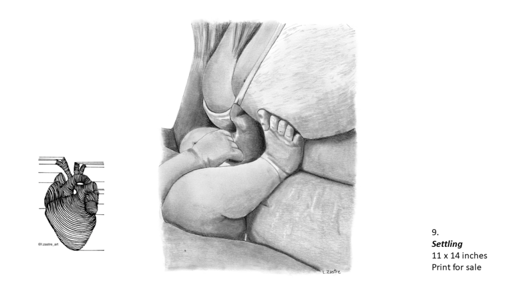 Pencil Drawing of a mother and child. The mother is wearing a bra and her bare stomach. The legs and one arm of an infant can be seen pushing against the mother's belly In the bottom left is a watermark which is a lined drawing of an atomically correct heart with the following text below: @l.zastre_art