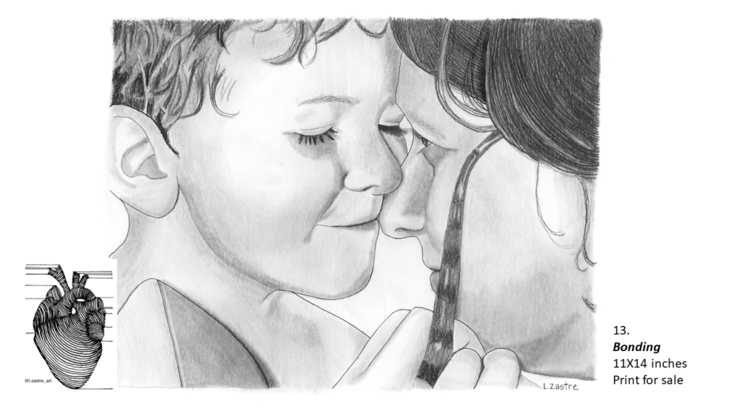 Close up pencil drawing of a mother and boy. Their faces are against each together and they are both smiling. The boy is pulling off his mother's glasses and has short hair. Both mother and child are white. In the bottom left is a watermark which is a lined drawing of an atomically correct heart with the following text below: @l.zastre_art