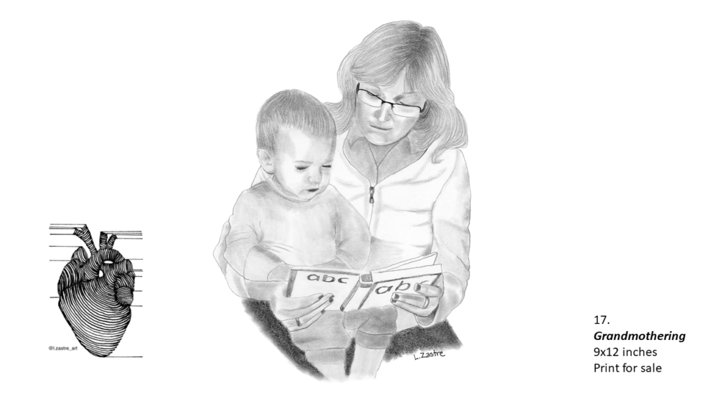 Pencil drawing of a white grandmother reading to her young grandchild. The grandmother has mid-length hair, is wearing glasses and a zip up sweater. The child is sitting in her lap and is wearing pajamas. The book the grandmother holds says ABC on the back and front cover. In the bottom left is a watermark which is a lined drawing of an atomically correct heart with the following text below: @l.zastre_art