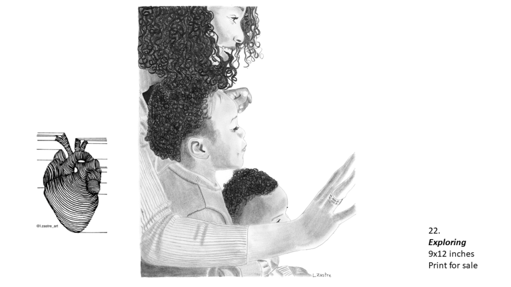 Pencil drawing of a mother with two children sitting on her lap in profile from the waist up. The mother and her children are black with curly dark hair. The mother is smiling and waving and 9s wearing a white sweater and a wedding ring. The two children are very close to her and are looking in the same direction. Both children have short hair and may be boys. In the bottom left is a watermark which is a lined drawing of an atomically correct heart with the following text below: @l.zastre_art