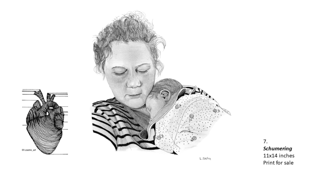 Pencil drawing of actor Amy Schumer holding her small child. Amy is white and her head and chest are visible. Her hair is in a messy ponytail and she is wearing a striped shirt. Her small child in wrapped up against her chest and both mother and child appear to be sleeping. In the bottom left is a watermark which is a lined drawing of an atomically correct heart with the following text below: @l.zastre_art